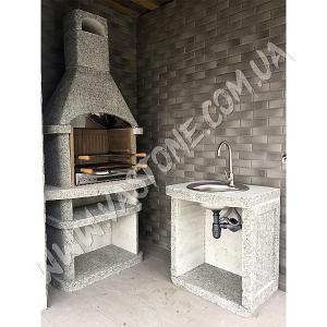 Камин барбекю Сицилия, гранит светло-серый 4