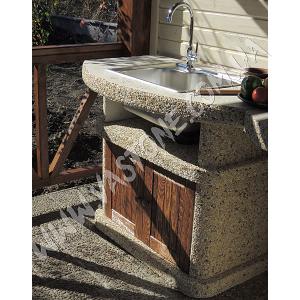 Стол-мойка Сицилия с фасадом, мрамор кремовый  3