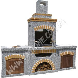 Камин барбекю Манчестер с двумя столами и фасадом 1