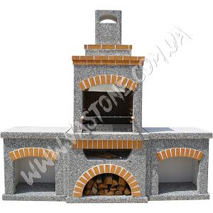 Камин барбекю Манчестер с двумя столами, мрамор серый 1