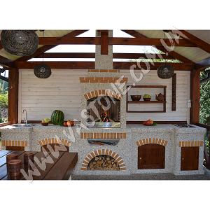 Камин барбекю Манчестер в комплекте с фасадами, мрамор кремовый 8