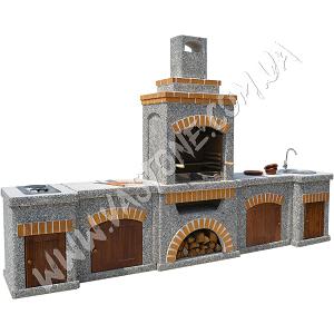 Камин барбекю Манчестер в комплекте с фасадами, мрамор серый 1