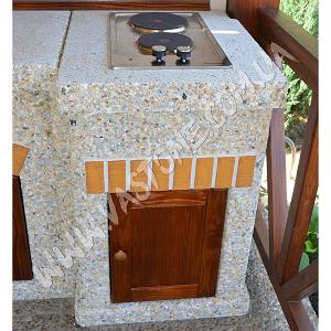 Стол-плита Манчестер №2 с фасадом, мрамор кремовый 1.