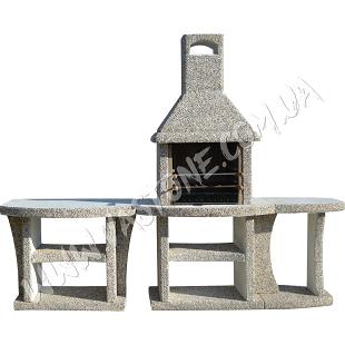Камин барбекю Каир с маленьким и большим столом МК 1