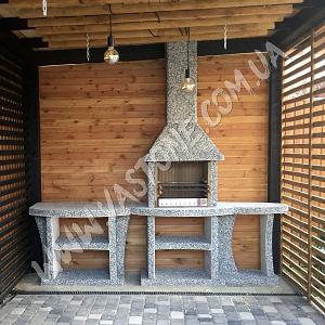 Камин барбекю Каир с маленьким и большим столом МС 2