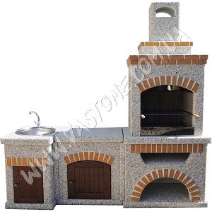 Камин барбекю Манчестер с двумя столами (№1+№2) и фасадом, мрамор кремовый 1