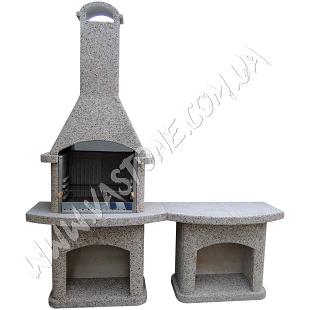Камин барбекю Рио, со столом, кварцит 1