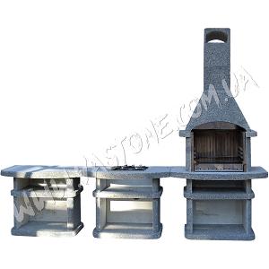 Камин барбекю Сицилия комплект, гранит серый 1