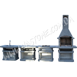 Камин барбекю Сицилия комплект люкс, гранит серый 1