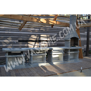 Камин барбекю Сицилия комплект люкс, гранит серый 4