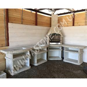 Камин барбекю Сицилия комплект люкс, мрамор кремовый 1
