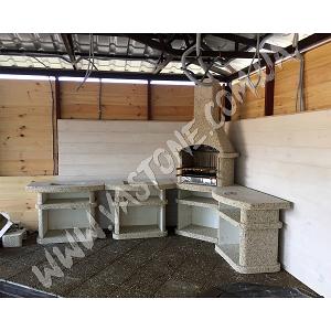 Камин барбекю Сицилия комплект люкс, мрамор кремовый 2