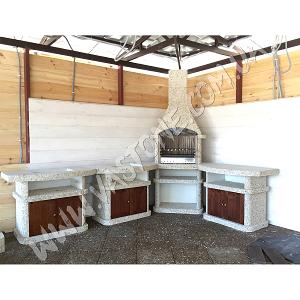 Камин барбекю Сицилия комплект люкс, мрамор кремовый 3