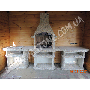 Камин барбекю Сицилия комплект, мрамор кремовый 3